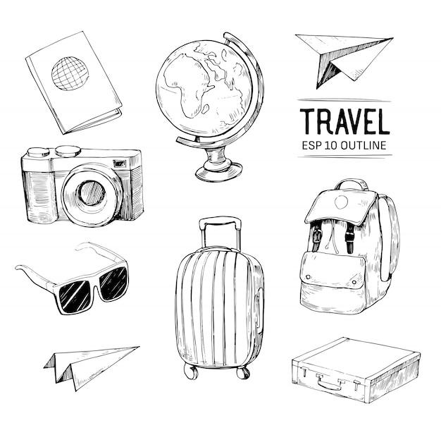 Set reizen objecten. hand getekende illustratie