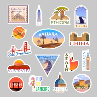Set reizen stickers colliction. rond de wereld