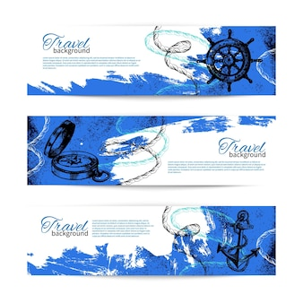 Set reizen vintage banners. zee nautisch ontwerp. handgetekende schetsillustraties