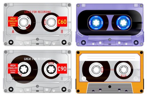Set retro-audio van cassettes. eps vector