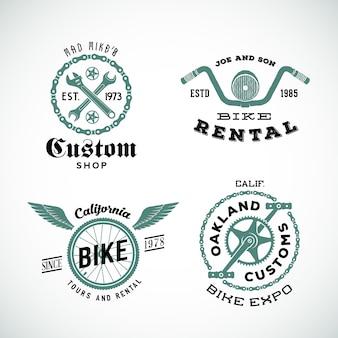 Set retro fiets aangepaste etiketten of logo's