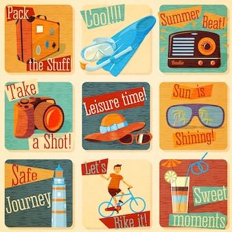 Set retro gestileerde zomeremblemen met typografische elementen