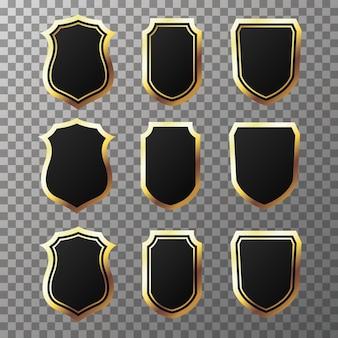 Set retro gouden en zwarte labels en schilden