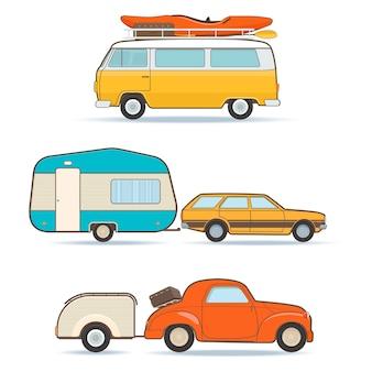 Set retro kampeerwagens en caravans