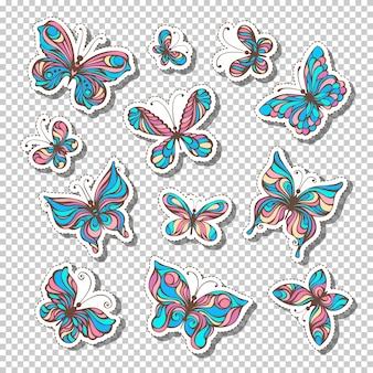 Set retro kleverige etiketten met vlinders. heldere kleurrijke stickers of zelfklevende etiketten op transparante achtergrond. 80s-90s stijl.