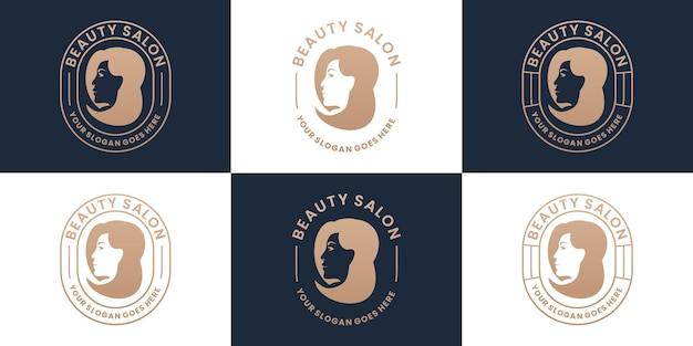 Set retro schoonheid vrouw salon en spa logo design collectie