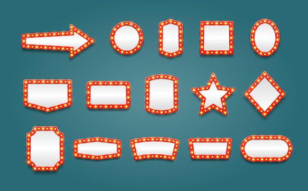 Set retro selectiekader lege frames frames voor film casino lamp voor make-up kamer