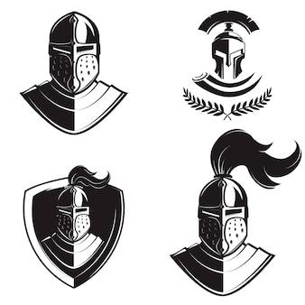 Set ridders helmen geïsoleerd op een witte achtergrond. ontwerpelementen voor logo, label, embleem, teken, badge, merkmarkering.