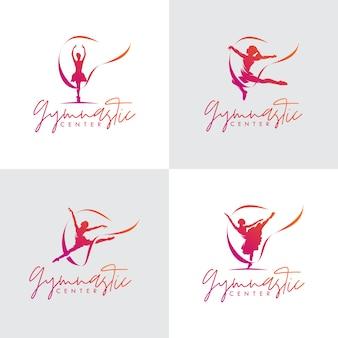 Set ritmische gymnastiek met lint logo-ontwerp