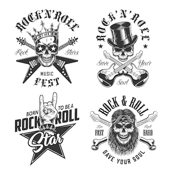 Set rock and roll emblemen