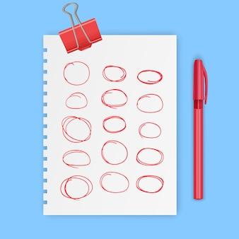 Set rode handgetekende elementen voor het selecteren van tekstschets ovaal