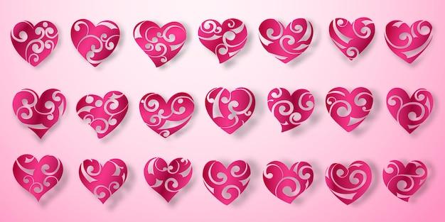 Set rode hartsymbolen met krullen, blikken en schaduwen op roze achtergrond