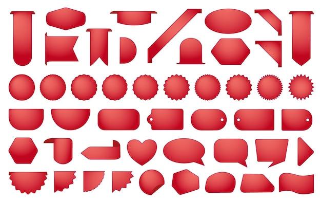 Set rode verkoop badges of stickers collectie voor zakelijke etiketten geïsoleerd op een witte achtergrond