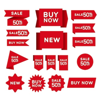Set rode verkoop winkellinten, badges en spandoeken met de inscriptie verkoop, koop nu, nieuw op een rode achtergrond.