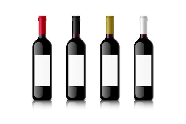 Set rode wijnflessen met gekleurde doppen realistische vectorillustratie