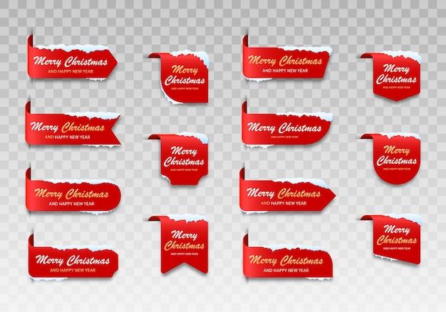 Set rode winterkaarten merry christmas label voor vrolijk kerstfeest met sneeuw