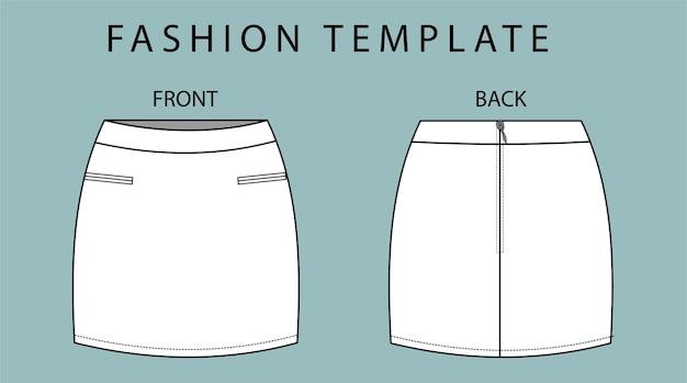 Set rok voor- en achteraanzicht. rok mode platte schets sjabloon