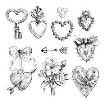 Set romantische vintage hand getrokken elementen.