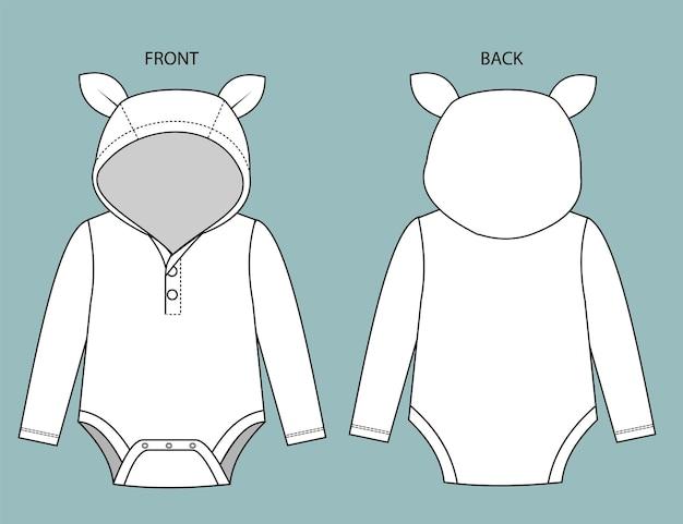 Set romper voor baby voor- en achteraanzicht