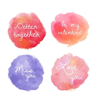 Set ronde aquarel badges voor valentijnsdag in rood, roze en paars