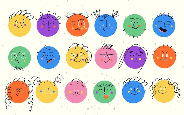Set ronde grappige karakters met verschillende gezichtsemoties. kleurrijke moderne vectorillustratie met vormen gelukkig verdrietig boos smileygezichten voor kinderen.