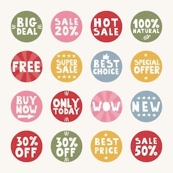 Set ronde tags voor verkoopbevordering beste prijs nieuwe hete verkoop beste keuze