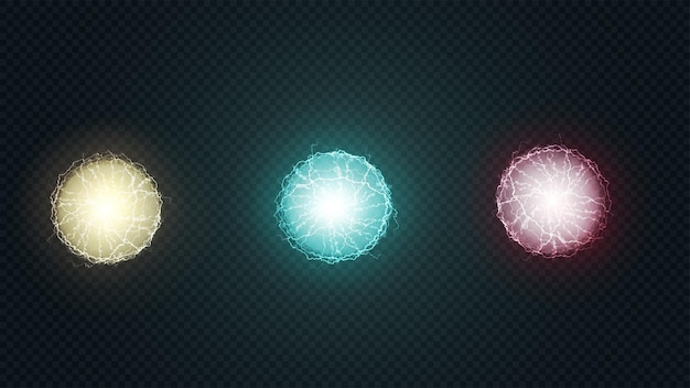 Set ronde veelkleurige energieballen met bliksemschichten