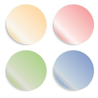 Set ronde zelfklevende stickers met omgeslagen randen. lege sjablonen van prijskaartjes.