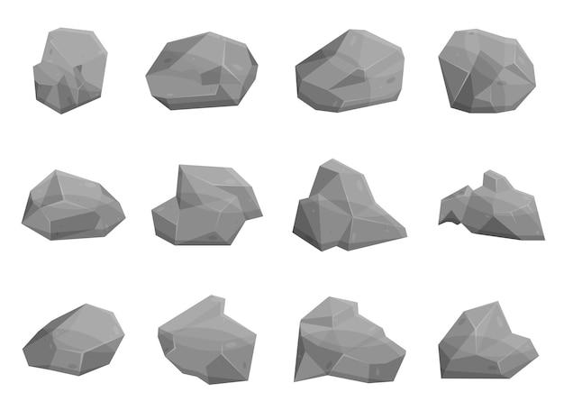 Set rotsstenen en rotsblokken in cartoonstijl