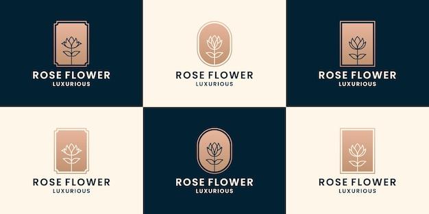 Set roze bloem, bloemenwinkel, bloemist logo design collecties met gouden kleur