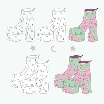 Set roze dameslaarzen met hakken met een print van de maan en sterren