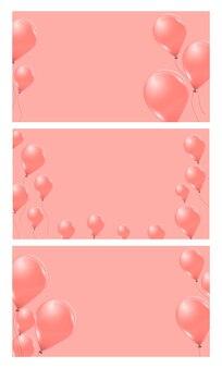 Set roze helium ballonnen op roze achtergrond