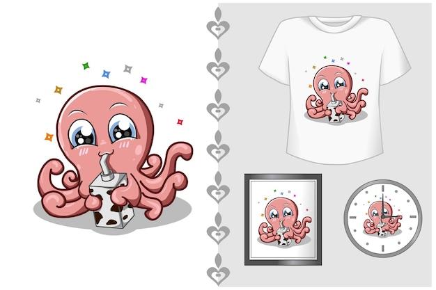 Set, roze octopus consumptiemelk