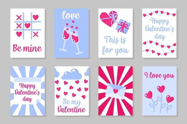 Set roze, wit en blauw gekleurde kaarten voor valentijnsdag