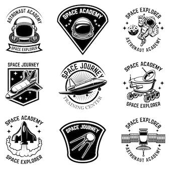 Set ruimtekamp labelsjablonen. ontwerpelement voor logo, label, teken, poster, t-shirt.