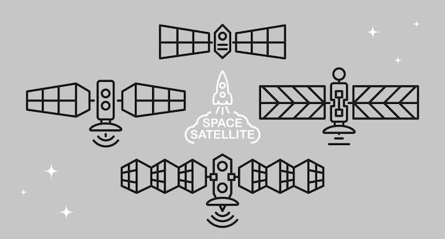 Set ruimtesatellieten in doodle stijl.