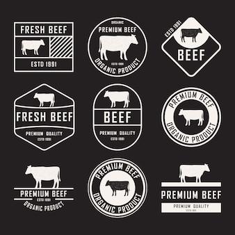 Set rundvlees etiketten, insignes en ontwerpelementen.