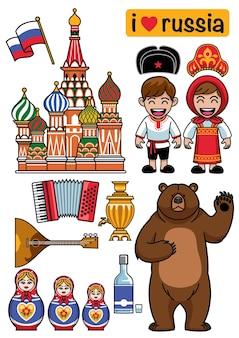 Set russische cartoon design-objecten