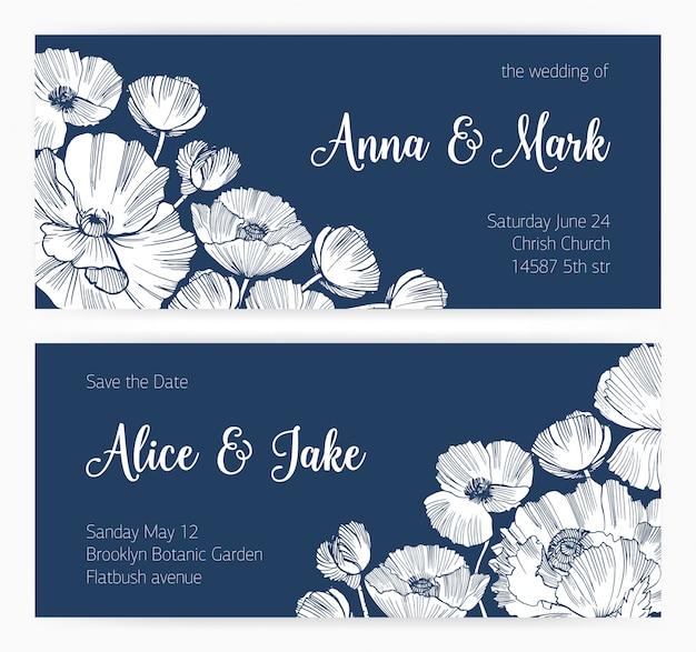 Set save the date-kaart en bruiloft uitnodiging met bloeiende poppy bloemen hand getekend met contourlijnen