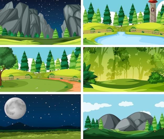 Set scènes achtergrond in de natuur instelling