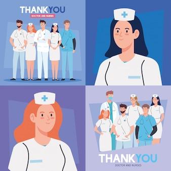 Set scènes, bedankt arts en verpleegsters die in ziekenhuizen werken en het coronavirus covid 19 illustratieontwerp bestrijden