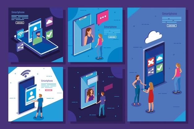 Set scènes met pictogrammen voor smartphones en sociale media