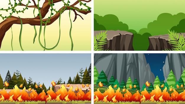Set scènes of achtergrond in de natuur