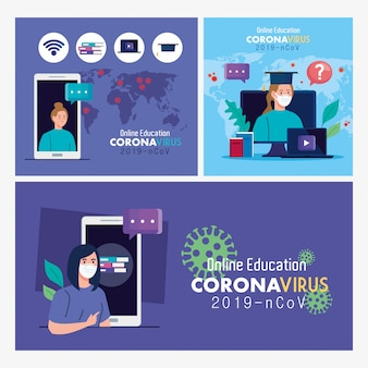 Set scènes, online onderwijsadvies om het verspreiden van coronavirus covid-19 te stoppen en online concept vectorillustratieontwerp te leren