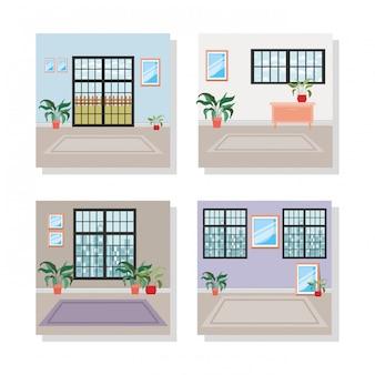 Set scènes van huis binnenplaatsen