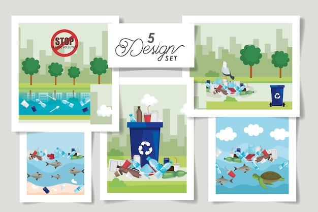Set scènes van nee zeggen tegen plastic zak en pictogrammen