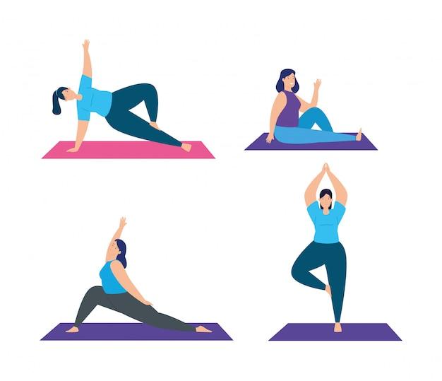 Set scènes van vrouwen die het ontwerp van de yogaillustratie uitoefenen