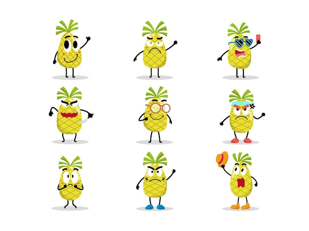 Set schattig ananaskarakter in verschillende poses