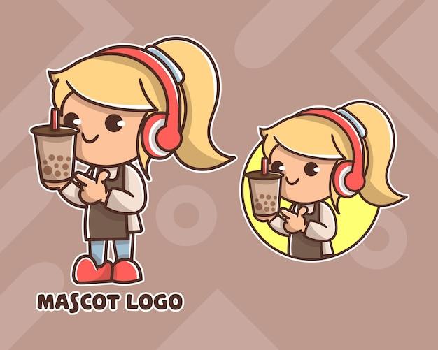 Set schattig koffie meisje mascotte logo met optioneel uiterlijk.