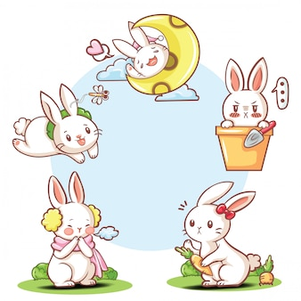 Set schattig konijn stripfiguur